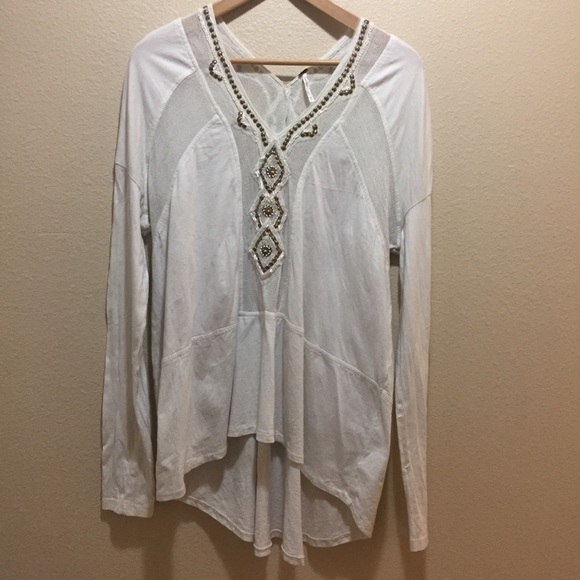 88dbe40b27e12 Free People Tops - Free People Beaded Long Sleeve Boho White Blouse